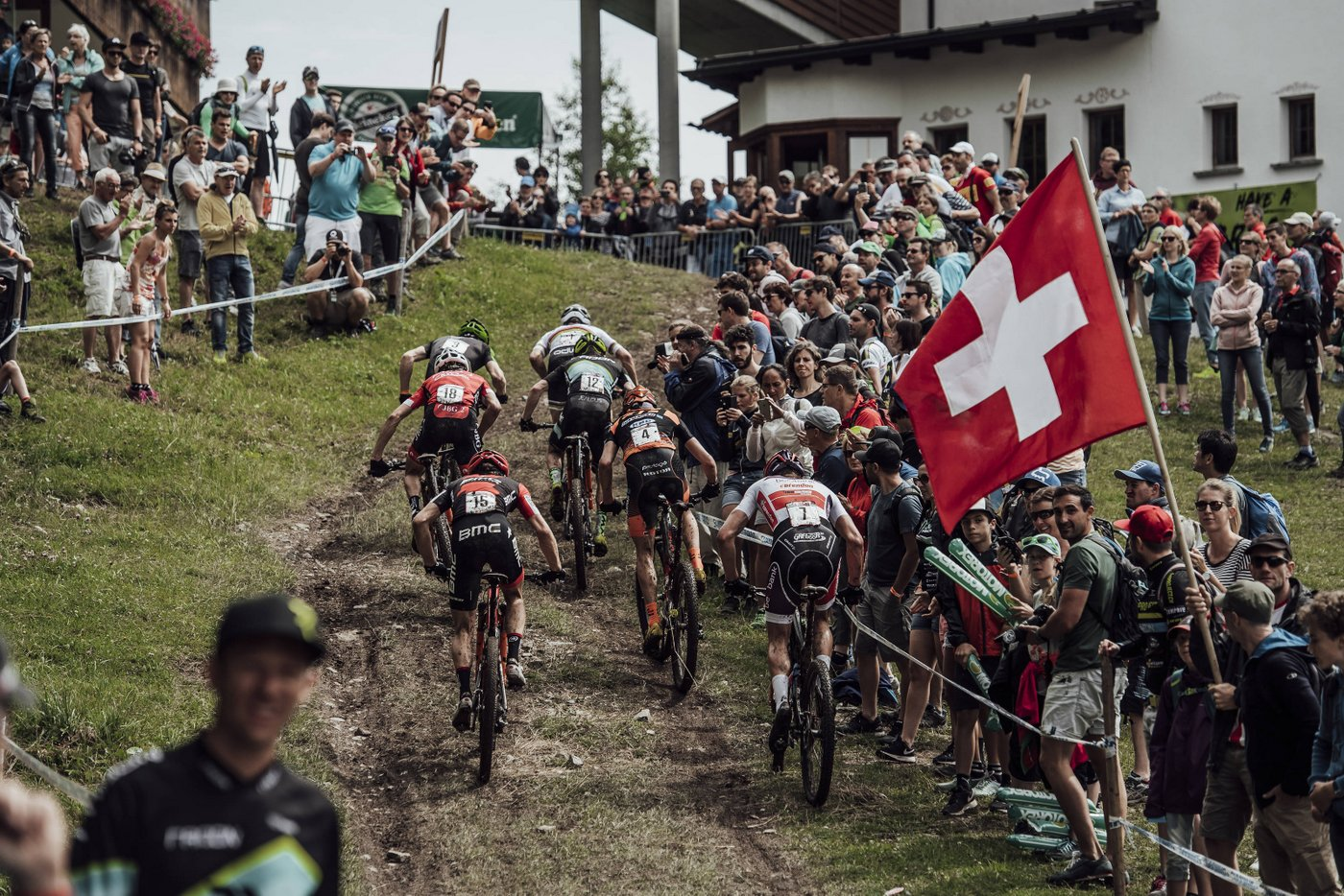 Competitors perform at UCI XCO World Cup in Lenzerheide, Switzerland on July 9th, 2017 // Bartek Wolinski/Red Bull Content Pool // P-20170709-04211 // Usage for editorial use only // Please go to www.redbullcontentpool.com for further information. //