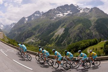 Cycling: 101th Tour de France / Stage 14 Illustration Illustratie / NIBALI Vincenzo (ITA) Yellow Leader Jersey / Team Astana (KAZ)/ Peleton Peloton / COL DU LAUTARET (2058m) Mountains Montagnes Bergen / Landscape Paysage Landschap / FUGLSANG Jakob (DEN)/ GRIVKO Andriy (UKR)/ GRUZDEV Dmitriy (KAZ)/ IGLINSKIY Maxim (KAZ)/ KANGERT Tanel (EST)/ SCARPONI Michele (ITA)/ VANOTTI Alessandro (ITA)/ WESTRA Lieuwe (NED)/ Grenoble - Risoul 1855m (177Km)/ Ronde van Frankrijk TDF Etape Rit (c) Tim De Waele