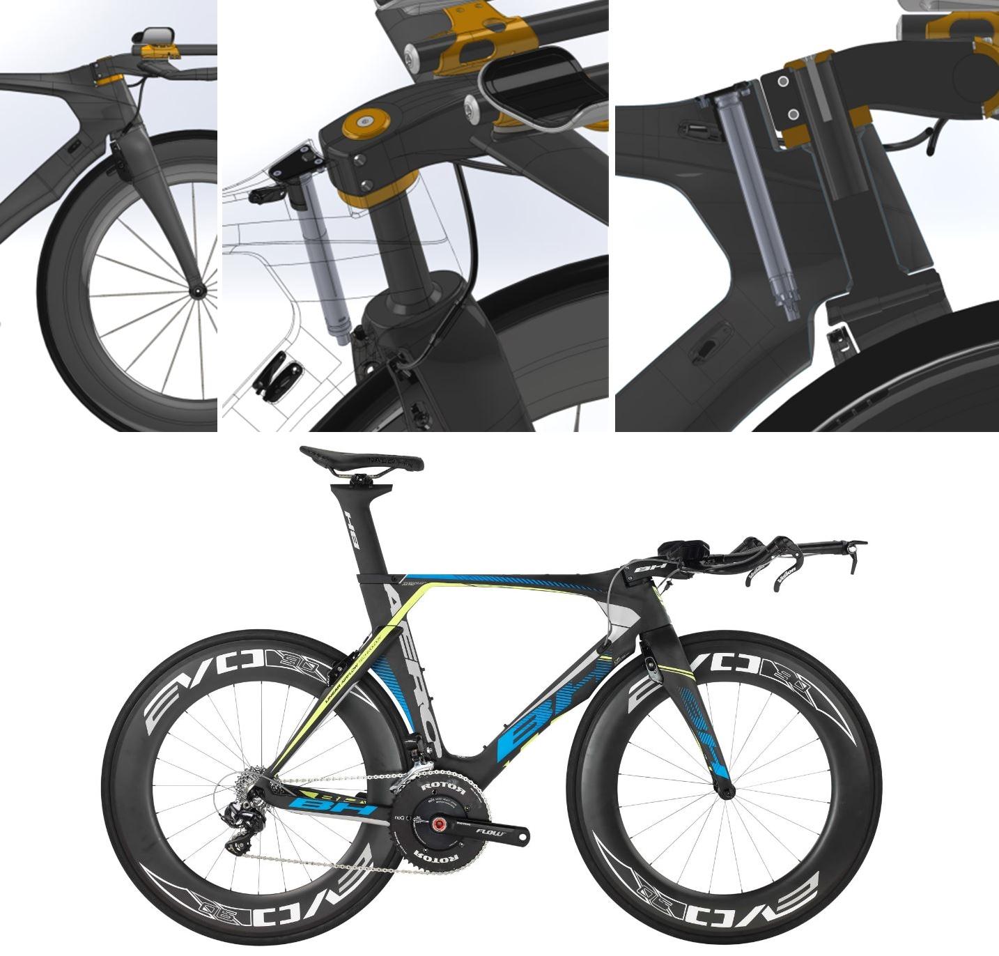 אופני הטריאתלון - עם מקום לסוללת ה Di2 מאחורי צינור הראש