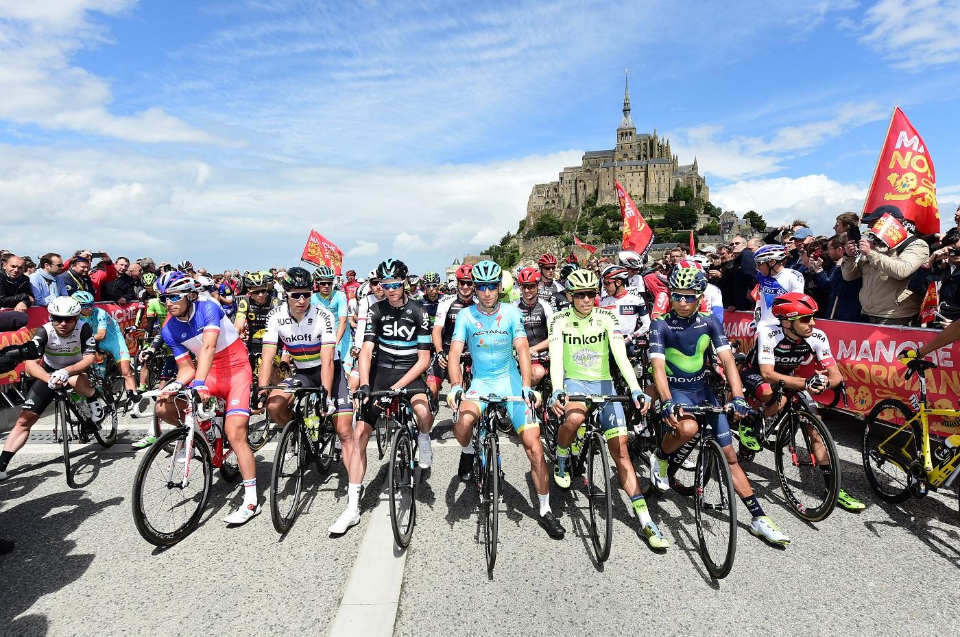 Tour de France 2016 - 02/07/2016 - Etape 1 - Mont-Saint-Michel / Utah Beach Sainte-Marie-Du-Mont (188km) - CAVENDISH Mark (TEAM DIMENSION DATA); VICHOT Arthur (FDJ); SAGAN Peter (TINKOFF); FROOME Christopher (TEAM SKY); NIBALI Vincenzo (ASTANA PRO TEAM); CONTADOR Alberto (TINKOFF); QUINTANA Nairo Alexander (MOVISTAR)